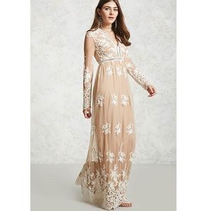 Nude/white mesh embroidered dress